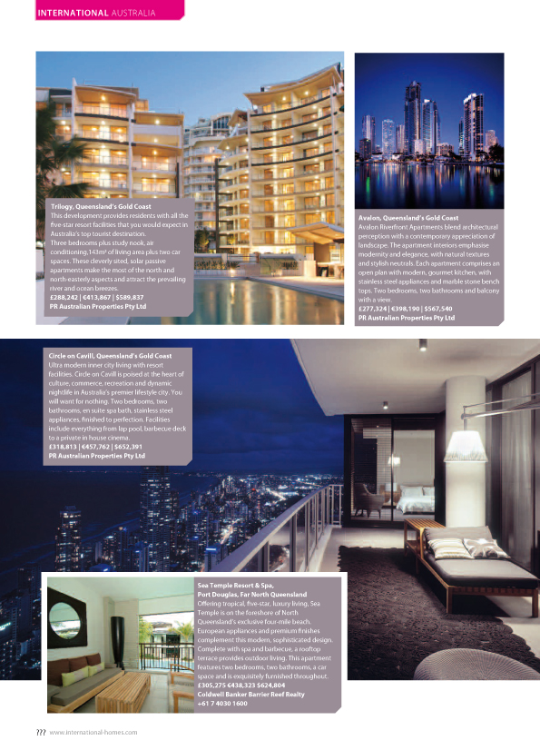 A Continent of Contrast. Evie McRae reports on the Australian property market for luxury, International Property Magazine